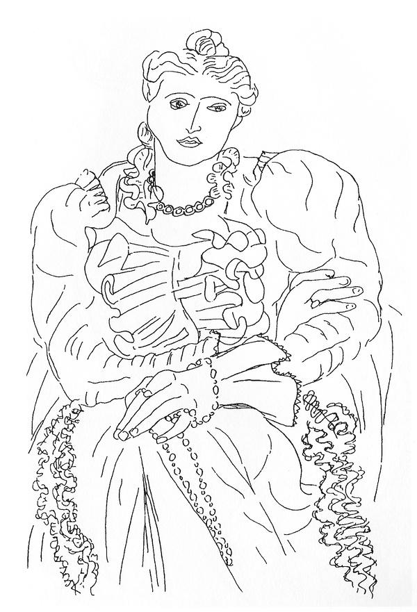 马蒂斯素描静物线描-世界艺术大师素描作品 五 马蒂斯